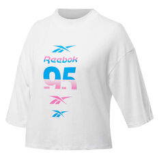 Reebok Womens Workout Ready MYT Graphic Tee White XS, White, rebel_hi-res