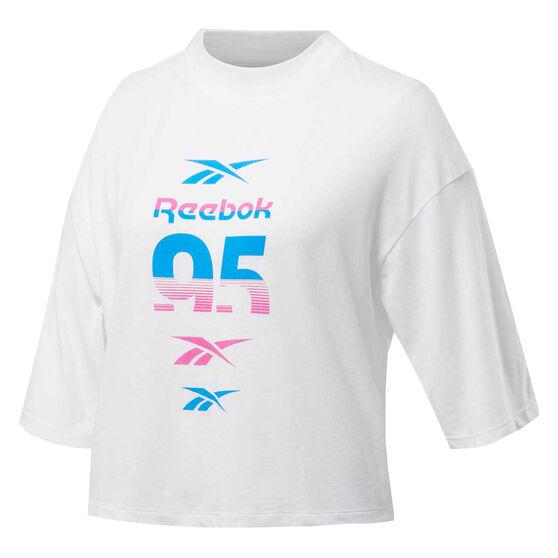 Reebok Womens Workout Ready MYT Graphic Tee, White, rebel_hi-res
