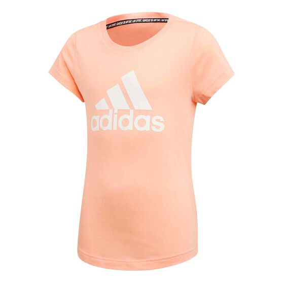 adidas Girls Must Haves Badge of Sport Tee Pink / White 16, Pink / White, rebel_hi-res