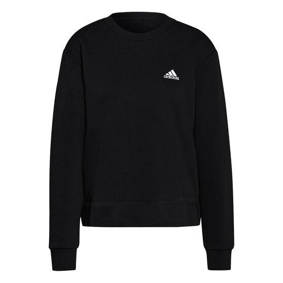 adidas Womens Essentials Small Logo Fleece Cropped Sweatshirt, Black, rebel_hi-res