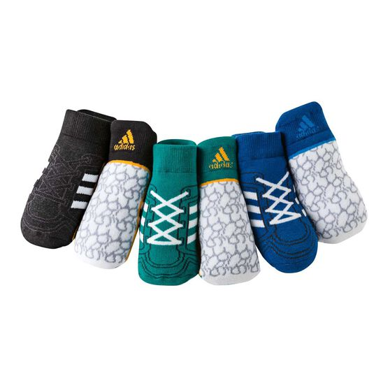 adidas Infant 3 Pack Socks Blue / Green Small, Blue / Green, rebel_hi-res