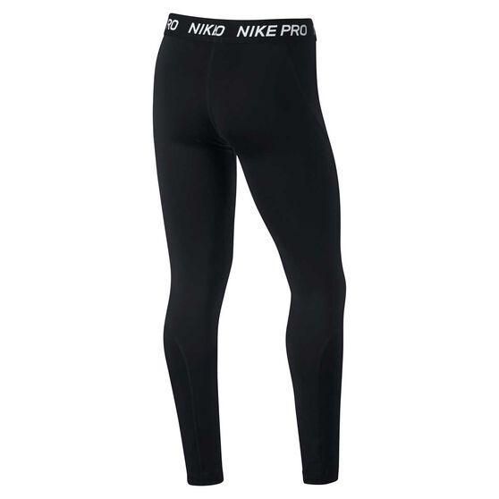 Nike Girls Pro Training Tights, Black / White, rebel_hi-res