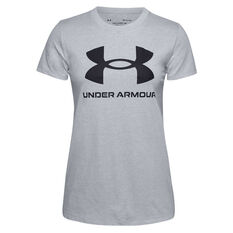 Under Armour Womens UA Sportstyle Graphic Tee Grey XS, Grey, rebel_hi-res