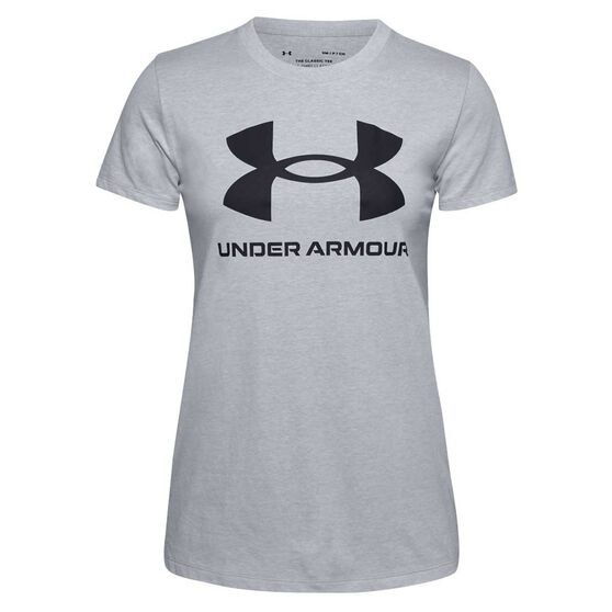 Under Armour Womens UA Sportstyle Graphic Tee, Grey, rebel_hi-res
