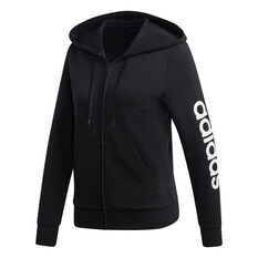 wholesale dealer cb0f8 38ef8 adidas Womens Essentials Linear Full Zip Hoodie Black   White XS, Black    White, ...