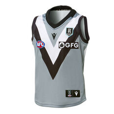 Port Adelaide Kids 2021 Away Guernsey Grey S, Grey, rebel_hi-res