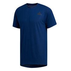 adidas Mens FreeLift Sport Prime Heather Training Tee Blue XS, Blue, rebel_hi-res