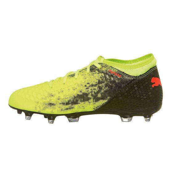 Puma Future 18.4 HyFG Kids Football Boots, Yellow / Red, rebel_hi-res