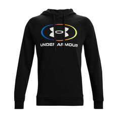 Under Armour Mens Rival Fleece Lockertag Hoodie Black L, Black, rebel_hi-res