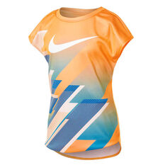 Nike Girls Dri-FIT Moving Swoosh Short Sleeve Tee Orange 4, Orange, rebel_hi-res