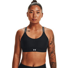 Under Armour Womens Infinity Mid Covered Sports Bra Black XS, Black, rebel_hi-res