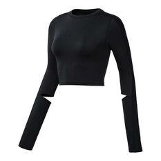 Reebok Womens Cropped Long Sleeve Top Black XS, Black, rebel_hi-res