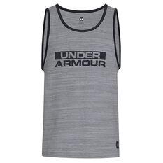 Under Armour Mens Sportstyle Cotton Tank Grey / Black XS, Grey / Black, rebel_hi-res