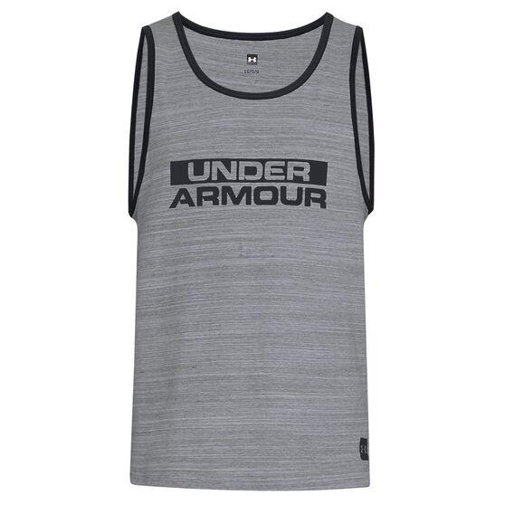 Under Armour Mens Sportstyle Cotton Tank, Grey / Black, rebel_hi-res