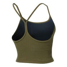 Running Bare Womens Dharma Long Line Sports Bra Khaki 8, Khaki, rebel_hi-res