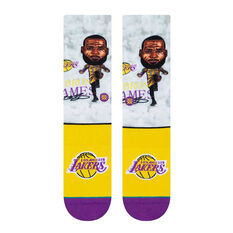 Stance Los Angeles Lakers Le Bron Big Head Socks Yellow / Purple M, Yellow / Purple, rebel_hi-res