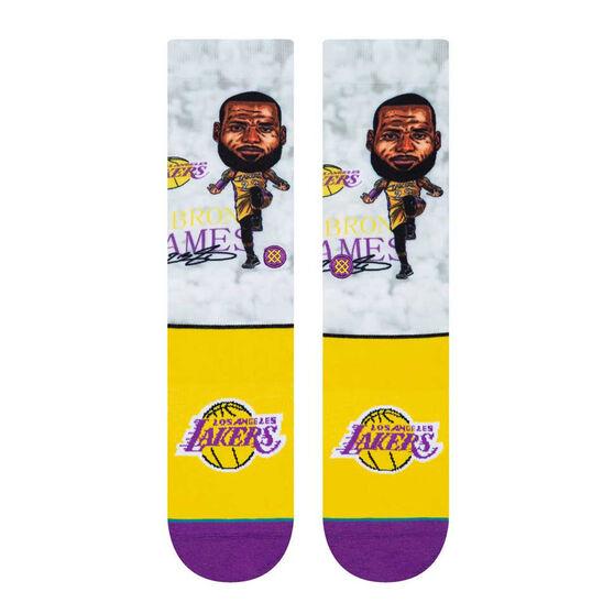 Stance Los Angeles Lakers LeBron Big Head Socks, Yellow / Purple, rebel_hi-res