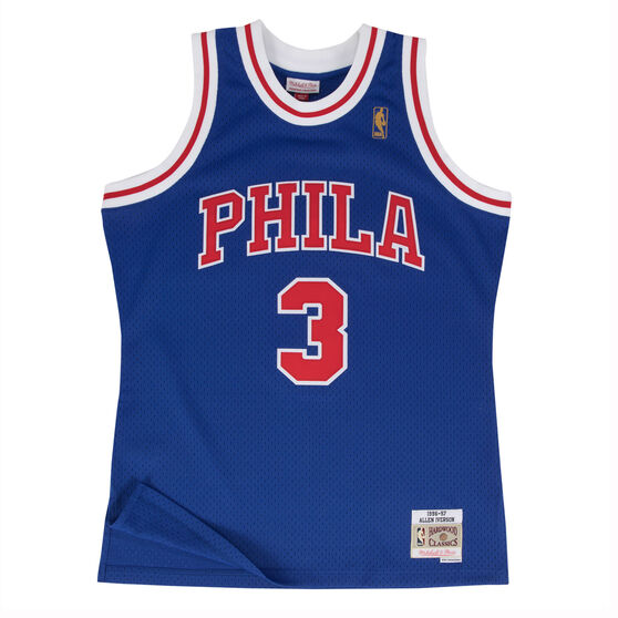 Philadelphia 76ers Allen Iverson 96/98 Mens Alternate Swingman Jersey, Blue / Red, rebel_hi-res
