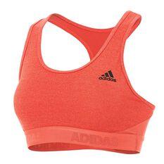 adidas Womens Alphaskin Heathered Sports Bra Scarlet XS Adult, Scarlet, rebel_hi-res