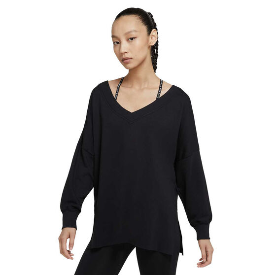 Nike Womens Yoga Fleece Cover Up, Black, rebel_hi-res