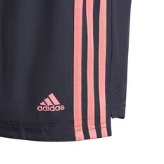adidas Girls Designed To Move 3-Stripes Shorts, Blue, rebel_hi-res