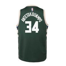 Nike Milwaukee Bucks Giannis Antetokounmpo Icon 2020/21 Kids Swingman Jersey, Green, rebel_hi-res