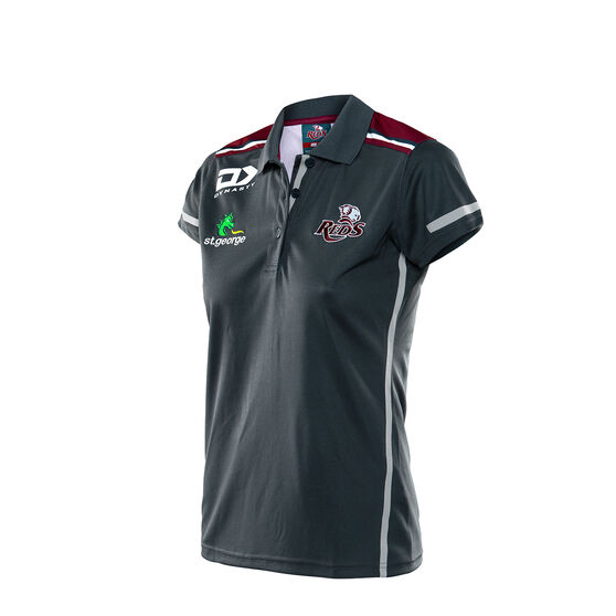 Queensland Reds 2020 Womens Media Polo, Black / Red, rebel_hi-res