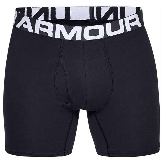 Under Armour Mens Charged Cotton Boxerjocks 3 Pack, Black, rebel_hi-res