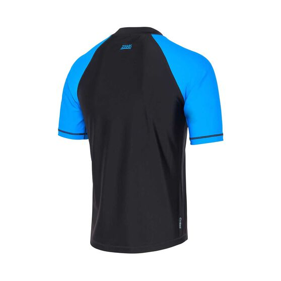 Zoggs Mens Short Sleeve Rash Vest, Black / Blue, rebel_hi-res