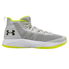 Under Armour Jet Mid Mens Basketball Shoes, Grey/White, rebel_hi-res