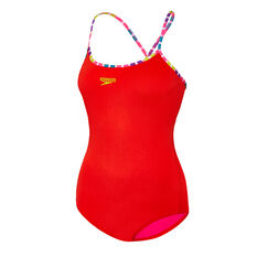 Speedo Womens Fiesta Tie-Back One-Piece Swimsuit Red 8, Red, rebel_hi-res