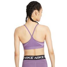 Nike Womens Dri-FIT Indy V Neck Sports Bra Purple XS, Purple, rebel_hi-res