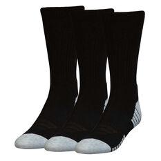 Under Armour HeatGear Crew 3 Pack Socks Black / White M, Black / White, rebel_hi-res