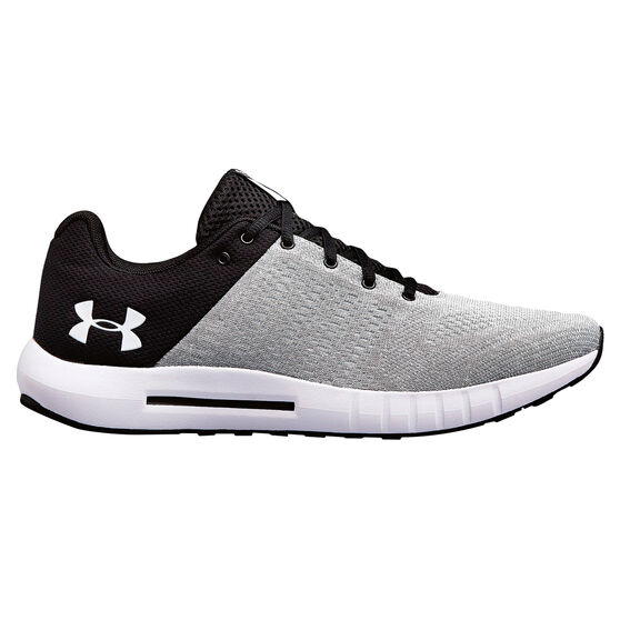 Under Armour Micro G Pursuit Mens Running Shoes, Black / White, rebel_hi-res