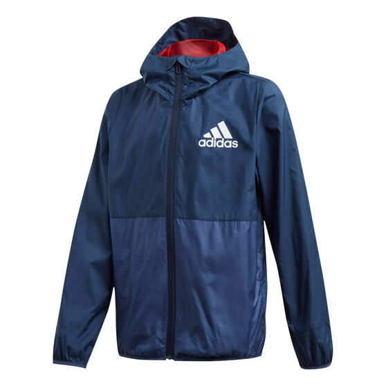 adidas Boys Must Haves Windbreaker Jacket, Navy/White, rebel_hi-res