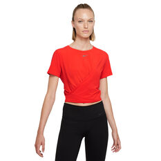 Nike Womens Dri-FIT One Luxe Twist Tee Red XS, Red, rebel_hi-res