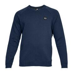 Under Armour Mens Rival Fleece Crew Sweater Navy XS, Navy, rebel_hi-res