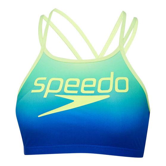 Speedo Womens Squad High Neck Crossback Crop Top Blue/Yellow 12, Blue/Yellow, rebel_hi-res