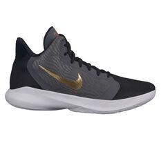 Nike Precision III Mens Basketball Shoes Black / Gold US 7, Black / Gold, rebel_hi-res