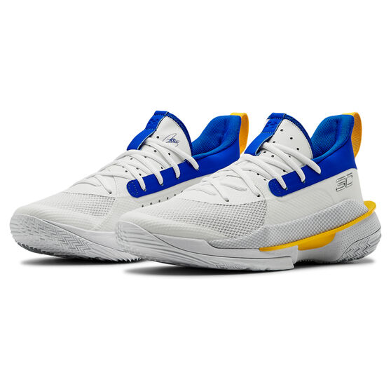 Under Armour Curry 7 Mens Basketball Shoes, White/Blue, rebel_hi-res