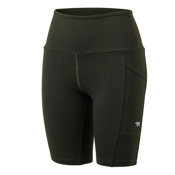 Running Bare Womens Power Move Bike Shorts, Khaki, rebel_hi-res