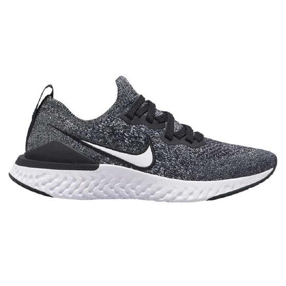 Nike Epic React Flyknit 2 Kids Running Shoes, Black / White, rebel_hi-res