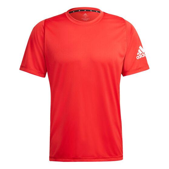 Adidas Mens Freelift Sport Ultimate Tee, Red, rebel_hi-res