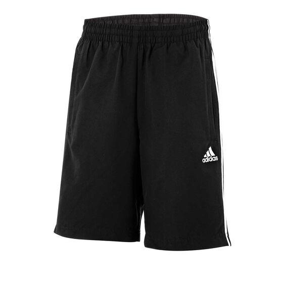 adidas Boys Essentials 3 Stripe Shorts Black 16, Black, rebel_hi-res