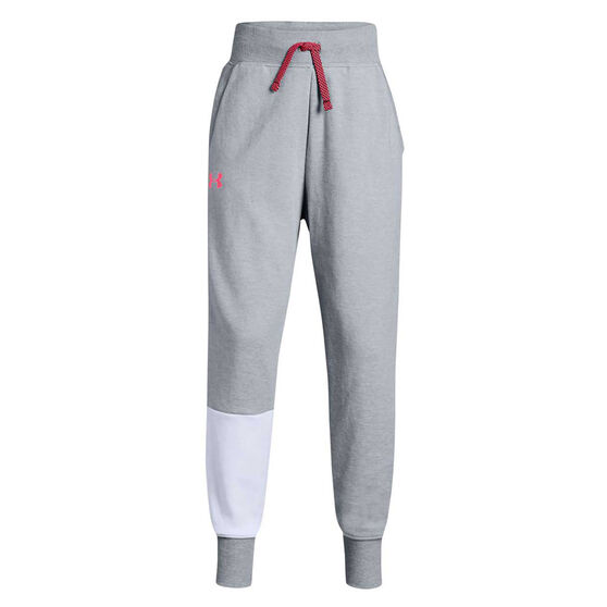 Under Armour Girls Unstoppable Double Knit Pants, Grey / Pink, rebel_hi-res