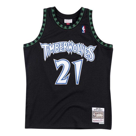 Minnesota Timberwolves Kevin Garnet 97/98 Mens Alternate Jersey, Black, rebel_hi-res