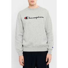 Champion Mens Script Crew Sweatshirt Grey S, Grey, rebel_hi-res