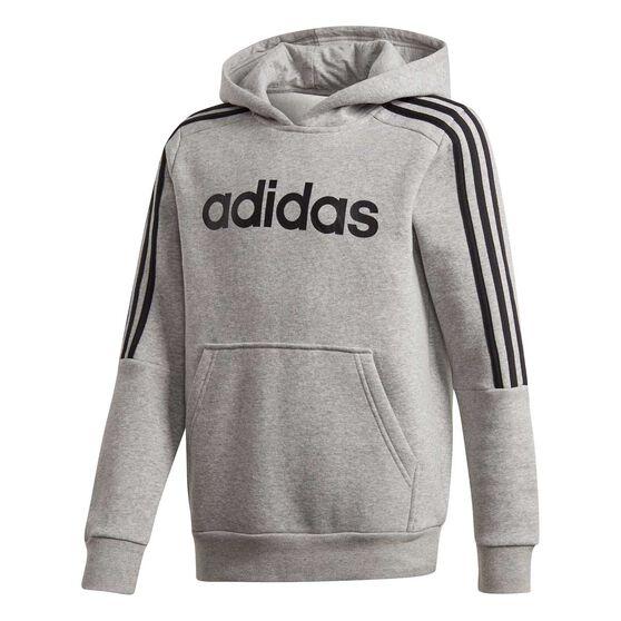 adidas Boys 3-Stripes Hoodie Grey / Black 10, Grey / Black, rebel_hi-res