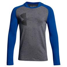 Under Armour Boys UA Knit Hoodie Grey / Blue X S, Grey / Blue, rebel_hi-res