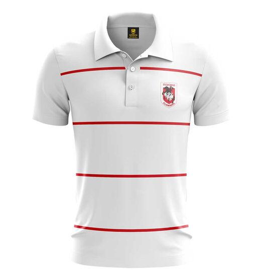 St. George Illawarra Dragons Mens Club Line Performance Polo, White, rebel_hi-res